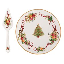 Old Country Roses Christmas Tree Low Server and Cake Stand