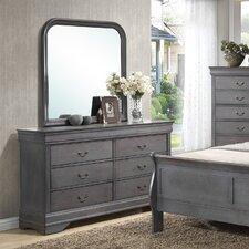 Louis Phillip 6 Drawer Dresser with Mirror