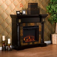 Carraway Faux Slate Convertible Electric Fireplace in Black