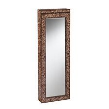Tawny Lighted Wall Mounted Jewelry Armoire with Mirror