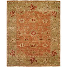 Terracotta/Light Green Area Rug