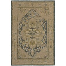 Olivia Antiqued Traditional Tan/Blue Area Rug
