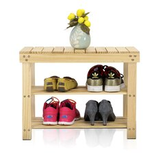 2 Tier Pine Wood Shoe Rack