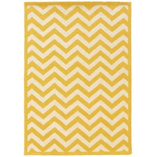 Hand-Hooked Yellow/Ivory Area Rug