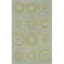 Nicolette Hand-Crafted Wool Circle and Dots Blue/Beige Area Rug