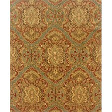 Aragon Hand-Crafted Wool Floral Blue/Rust Area Rug