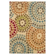 Clark Concentric Dots Gold & Blue Area Rug