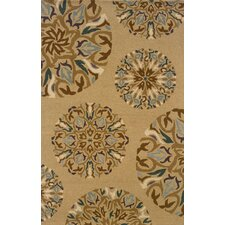 Elana Hand-Crafted Wool Floral Tan/Blue Area Rug