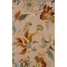 Elana Hand-Crafted Wool Floral Beige/Gold Area Rug