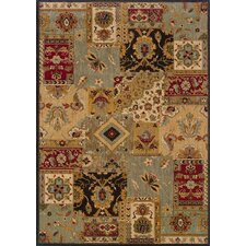 Kingston Traditional Patchwork Beige/Blue Area Rug