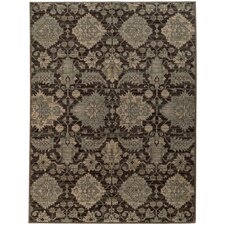 Hannah Wool Traditional Charcoal/Blue Area Rug