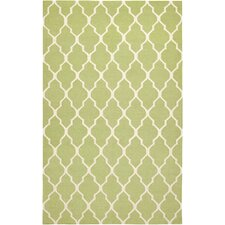 Hand-Woven Light Green Area Rug