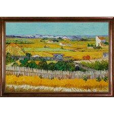 "The Harvest Canvas Art by Vincent Van Gogh Impressionism - 46"" X 36"" in Verona Cafe Frame"