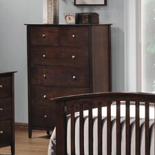 Double Oak 5 Drawer Vertical Chest