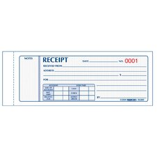 "2-3/4"" x 7"" Carbonless Triplicate Money Receipt Book"
