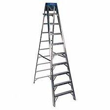 10 ft Aluminum Step Ladder with 300 lb. Load Capacity