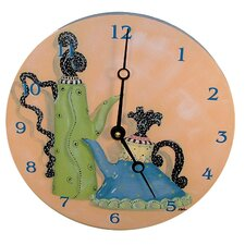 "Home and Garden 18"" Whimsical Teapots Wall Clock"