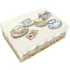 Large English Tea Cups Hinge Box