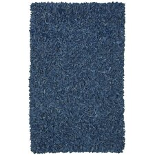 Pelle Leather Shag Blue Area Rug