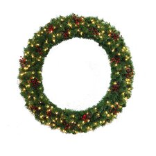 "60"" Lighted Multi Tip Semi Decorated Wreath"