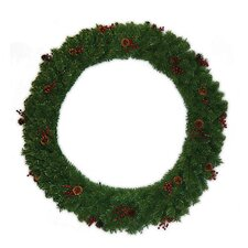 "48 "" Lighted Multi Tip Semi Decorated Wreath"