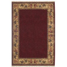 Chicken and Rooster Hand-Tufted Burgundy Area Rug