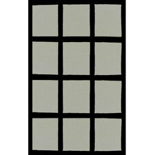 Bright Grey/Black Window Blocks Area Rug