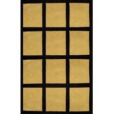 Bright Yellow/Black Window Blocks Area Rug