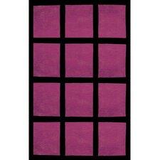 Bright Purple/Black Window Blocks Area Rug