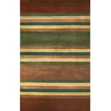 Casual Contemporary Earth Tones Modern Stripes Area Rug