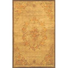 Neo Nepal Aubusson Flowers Gold Area Rug