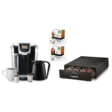 2.0 K450 Brewing System with Under Brewer Storage Drawer, Starbucks Breakfast Blend K-Cups and Starbucks House Blend K-Cups