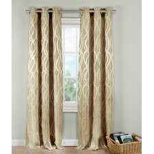 Allana Metallic Jacquard Grommet Curtain Panel (Set of 2)