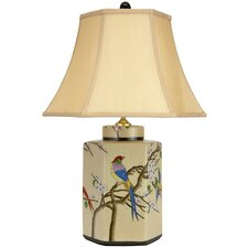 "Birds and Flowers 21.75"" H Table Lamp with Bell Shade"