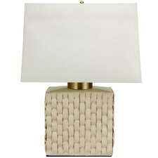 "Basket Weave Porcelain Jar 23 "" H Table Lamp with Rectangular Shade"