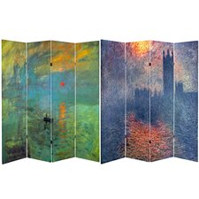 "71"" x 63"" Tall Impression Sunrise / Houses 4 Panel Room Divider"