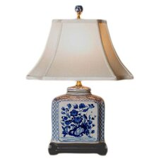 """Porcelain Flat Jar 24"""" H Table Lamp with Bell Shade"""