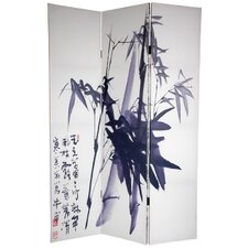 "72"" x 64"" Bamboo Tree Double Sided Calligraphy 3 Panel Room Divider"