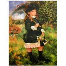 'Young Girl with Parasol' by Renoir Painting Print on Wrapped Canvas
