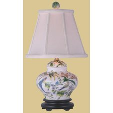 """Porcelain Lily Cover Jar 15"""" H Table Lamp with Empire Shade"""