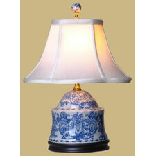 """Porcelain Jar 17"""" H Table Lamp with Bell Shade"""
