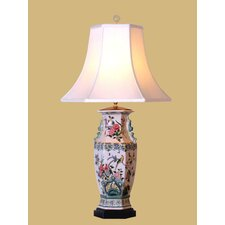 "Birds and Flowers 32"" H Table Lamp with Bell Shade"