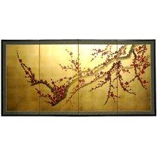 Tree on Gold Leaf 4 Panel Room Divider