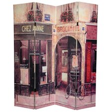 "72"" x 64"" Double Sided French Cafe 4 Panel Room Divider"