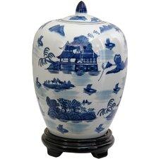 Vase Jar with Blue Landscape Design in White