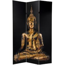 "70.88"" x 47.25"" Double Sided Thai Buddha 3 Panel Room Divider"