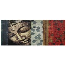 Peeking Buddha Statue Graphic Art on Wrapped Canvas