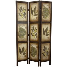 "71"" x 42"" Double Sided Botanic Printed 3 Panel Room Divider"
