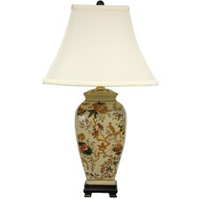 "Autumn Birds and Flowers Vase 25"" H Table Lamp with Bell Shade"