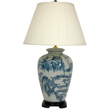"""Chinese Landscape Oriental 29"""" H Table Lamp with Empire Shade"""